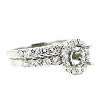 Round Halo Engagement Ring Mounting Set