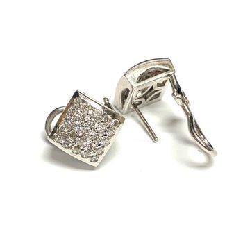 Pave Square Diamond Earrings