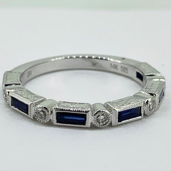 Vintage Inspired Sapphire & Diamond Band
