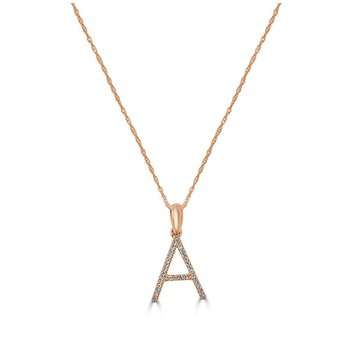 "Large Initial ""A"" Diamond Necklace"