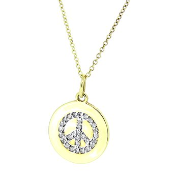 Peace Sign Diamond Disc Pendant