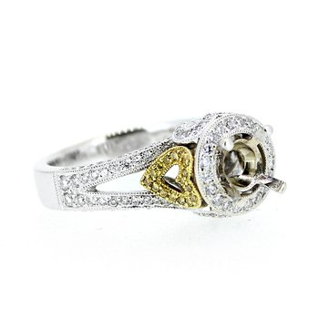 Fancy Yellow Heart Diamond Ring Mounting