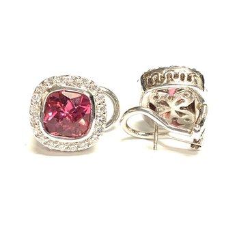 Pink Tourmaline and Diamond Earrings