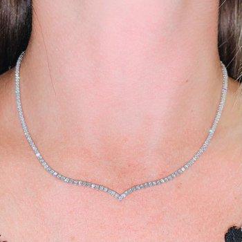 V Shape Diamond Collar Necklace