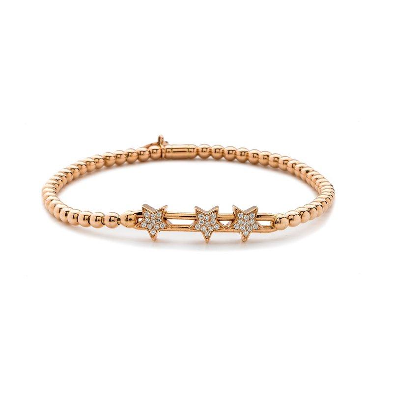 Rose Gold Beaded Diamond Star Slider Bracelet