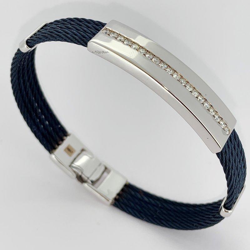 Siera White Gold & Blue Cable Diamond Bracelet