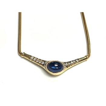 Cabochon Sapphire and Diamond Necklace