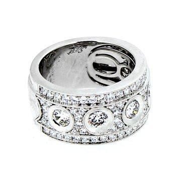 Wide Pave & Bezel Set Diamond Band