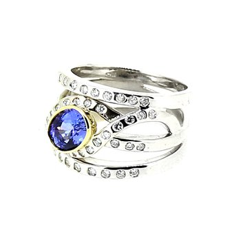 Tanzanite & Diamond Criss Cross Ring