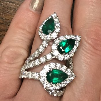 Emerald & Diamond Pear Halo Fan Ring