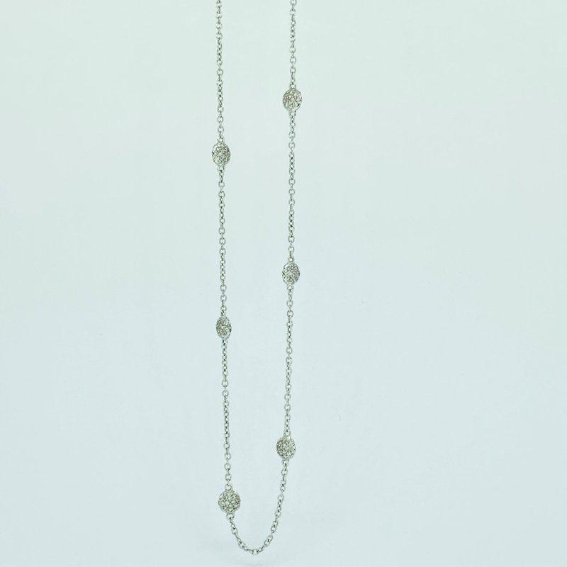 Decor Pave Diamond Stations Necklace