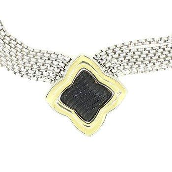 Carved Onyx Quatrefoil Necklace