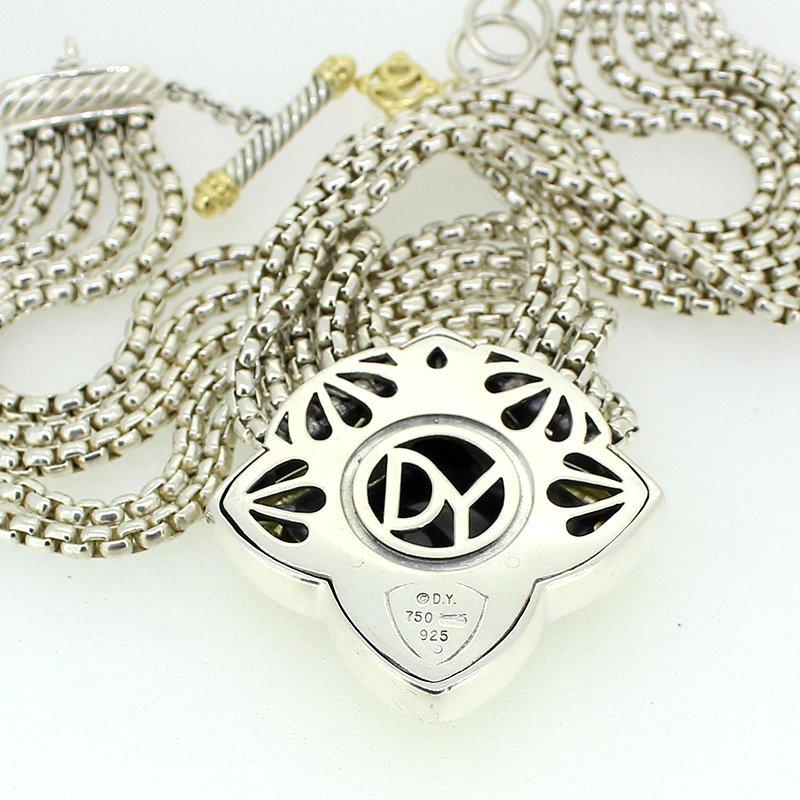 David Yurman Carved Onyx Quatrefoil Necklace