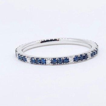 Sapphire & Diamond Eternity Band