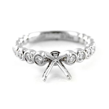 Graduated Bezel Set Diamond Ring Mounting