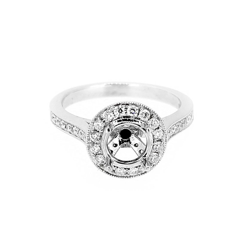 Decor Round Diamond Halo Ring Mounting