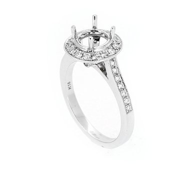 Round Diamond Halo Ring Mounting