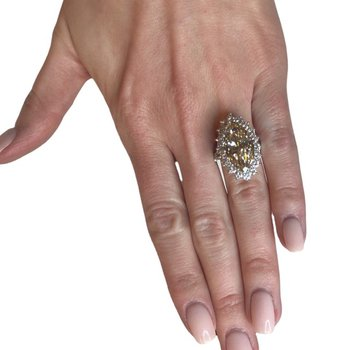 Fancy Light Brown Marquise and Diamond Ring