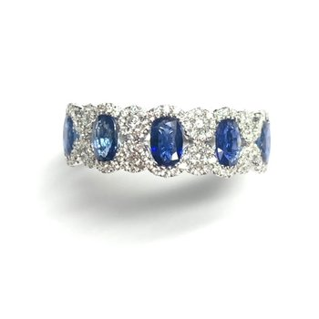 1.38CT Oval Sapphire and Diamond Band