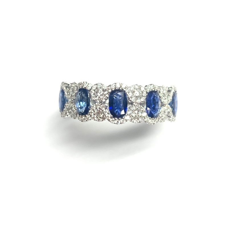 Decor 1.38CT Oval Sapphire and Diamond Band