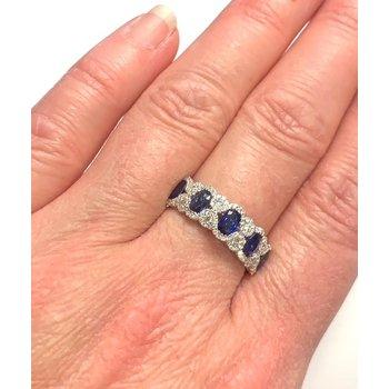 1.38CT Oval Sapphire and Diamond Band