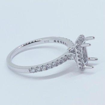 Rectangular Diamond Halo Ring Mounting