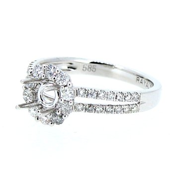 Round Halo Split Diamond Ring Mounting