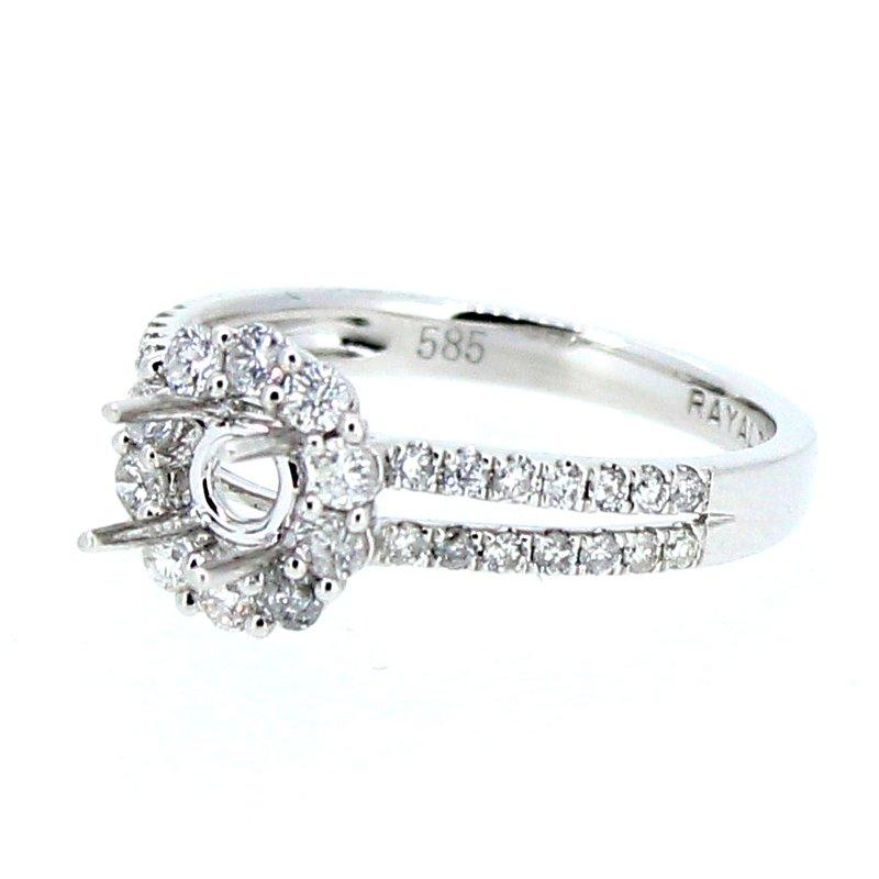 Decor Round Halo Split Diamond Ring Mounting