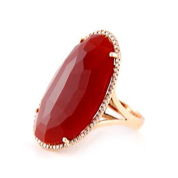 Rose Gold Red Agate & Diamond Ring