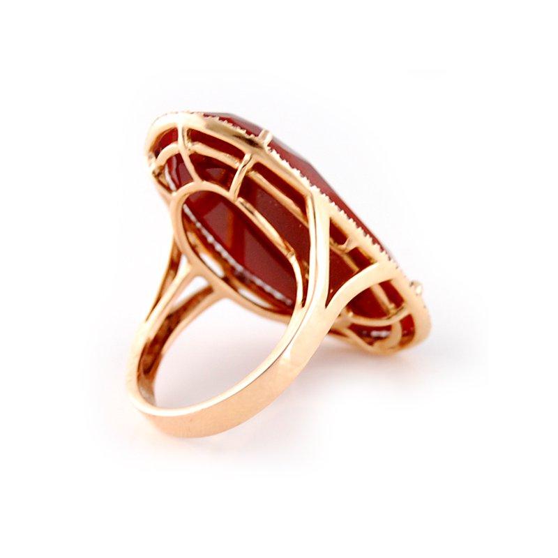 Sophia By Design Rose Gold Red Agate & Diamond Ring
