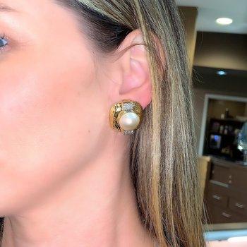 Mabe Pearl & Diamond Earrings
