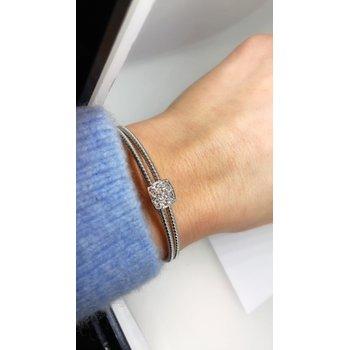 Double Cuff Pave Square Bracelet