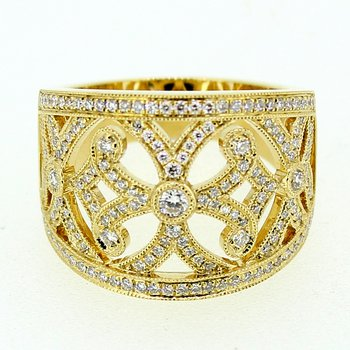 Ornate Wide Diamond Band
