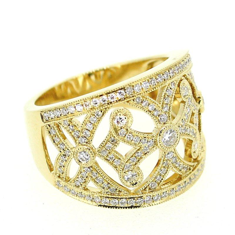 Decor Ornate Wide Diamond Band