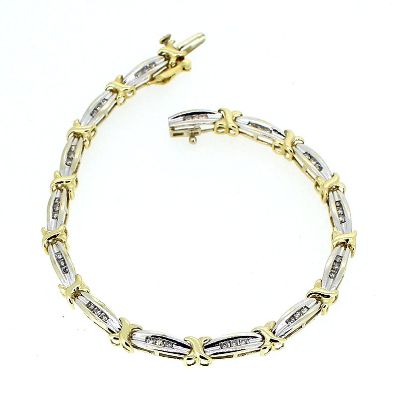 Decor Diamond Two Tone Link Bracelet