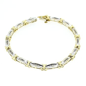 Diamond Two Tone Link Bracelet