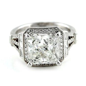 Princess Baguette Halo Diamond Ring