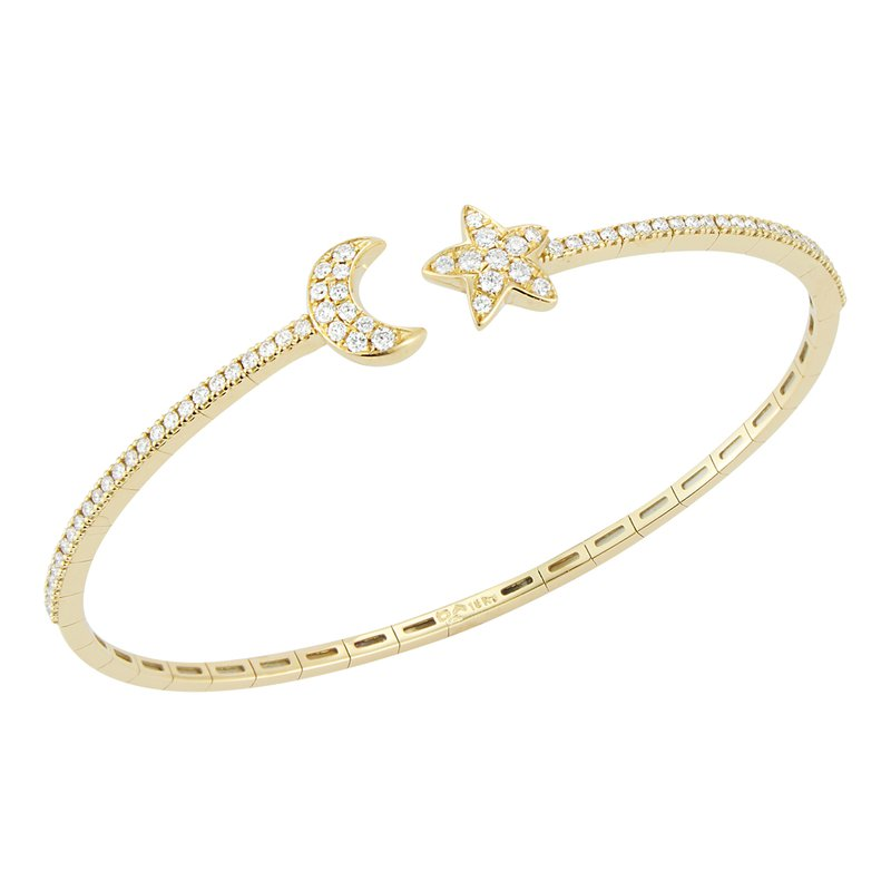 DA Gold Star & Moon Diamond Cuff Bracelet