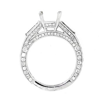 Pave & Baguette Diamond Ring Mounting
