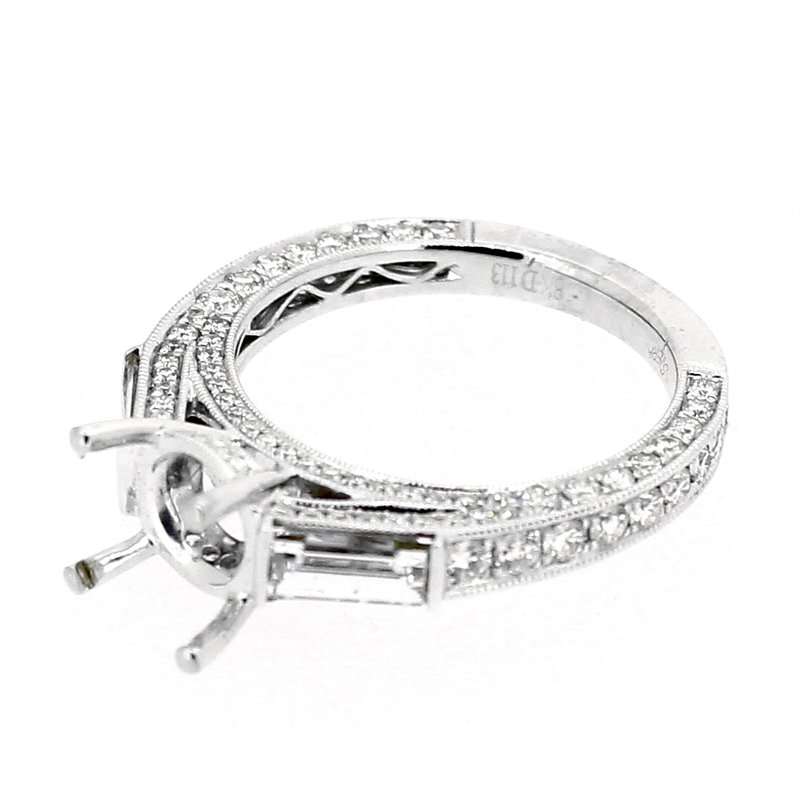 Decor Pave & Baguette Diamond Ring Mounting
