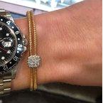 DA Gold Rose Cuff Pave Diamond Square Bracelet