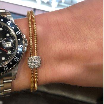 Rose Cuff Pave Diamond Square Bracelet