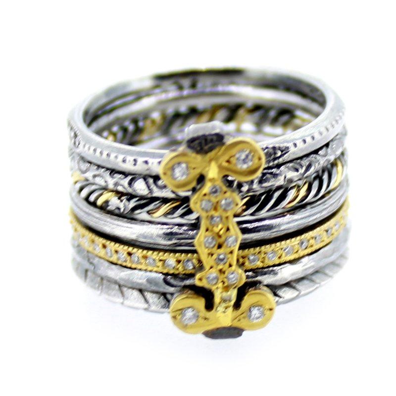 Kurtulan 7-Band Sterling & Gold Stacking Ring with Diamonds