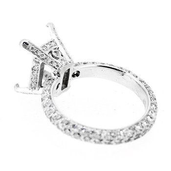 Pave Eternity Rectangular Diamond Ring Mounting