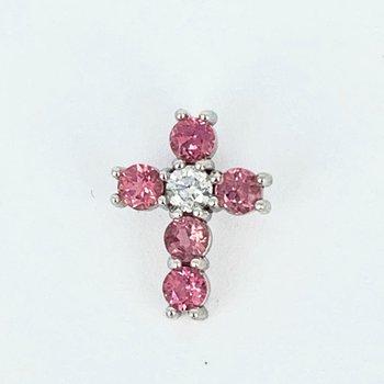 Pink Sapphire & Diamond Cross Pendant