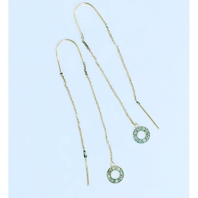 Decor Diamond Circle Threader Earrings