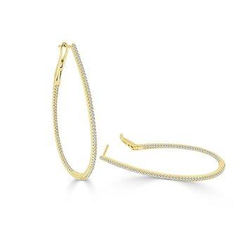 .51ctw Skinny Diamond Hoop Earrings
