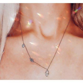 Hamsa & Evil Eye Diamond Necklace