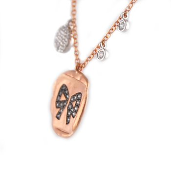 Rose Gold Diamond Bow Disc Necklace