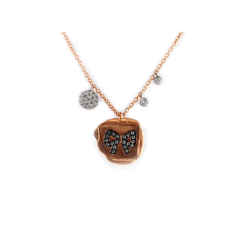 Decor Rose Gold Diamond Bow Disc Necklace